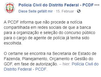 Informação da PCDF quanto à contratação da banca organizadora.
