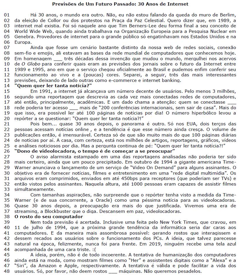 Texto da questão 3 de Conectores Textuais